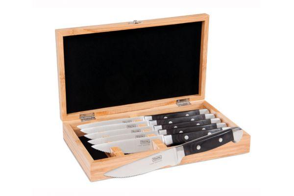 Large image of Viking Professional Black Pakkawood Steakhouse Style 6 Piece Steak Knife Set - 45311170BPAK