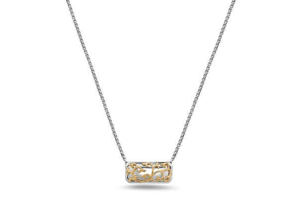 Large image of Charles Krypell Ivy Lace Sterling Silver And 18k Yellow Gold Necklace - 46973ILSG
