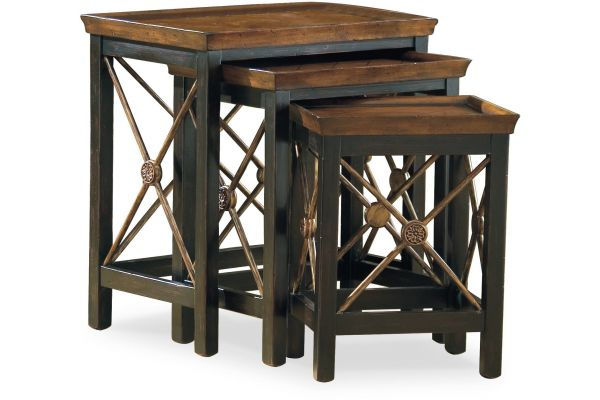 Large image of Hooker Furniture Living Room Nest Of Three Tables With Medallion Motif - 500-50-683