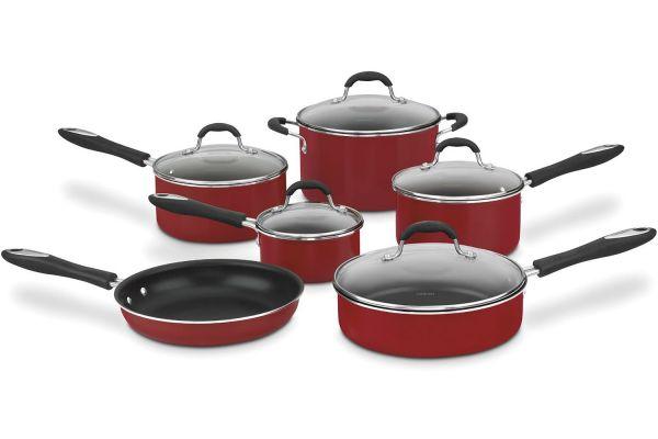 Large image of Cuisinart Advantage Red Non-Stick 11-Piece Cookware Set - 55-11R