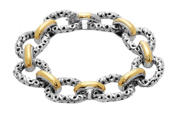 Large image of Charles Krypell Ivy Link Two-Tone Sterling Silver And Gold Bracelet  - 56709SG