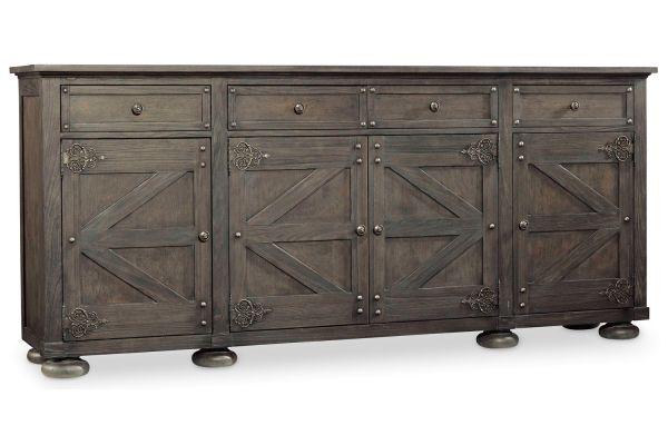 Large image of Hooker Furniture Dramatic Dark Charcoal Vintage West Storage Credenza - 5700-85001