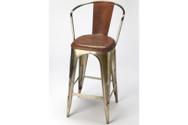 Large image of Butler Specialty Company Roland Brown Leather Bar Stool - 6130344