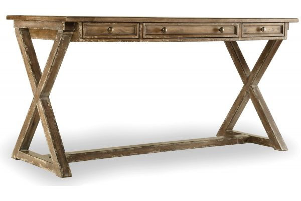 Large image of Hooker Furniture Light Wood Home Office Melange Bennett X-Base Writing Desk - 638-50003