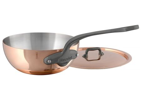 Mauviel M150c2 1.7 Qt. Copper And Stainless Steel Curved Splayed Saute Pan With Lid - 645221