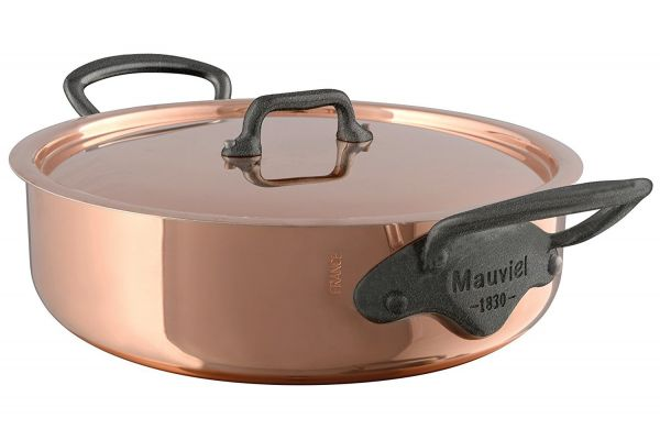 Mauviel M150c2 5.8 Qt. Copper And Stainless Steel Rondeau With Lid - 648029