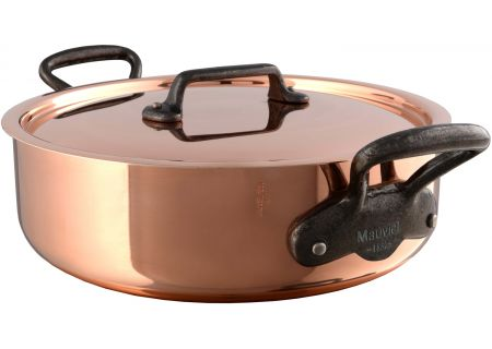 Mauviel M250c 3.1 Qt. Copper And Stainless Steel Rondeau With Lid - 654602