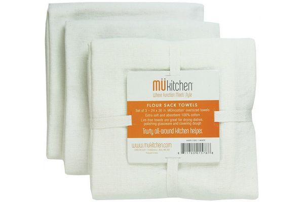 Large image of MUkitchen Cotton Flour Sack White Towel Set  - 66001201
