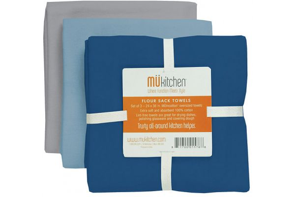 Large image of MUkitchen Cotton Flour Sack Harbor Towel Set  - 66001305