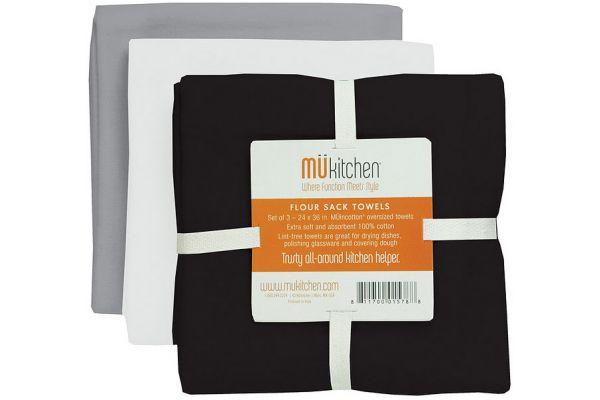Large image of MUkitchen Cotton Flour Sack Chalkboard Towel Set  - 66001408