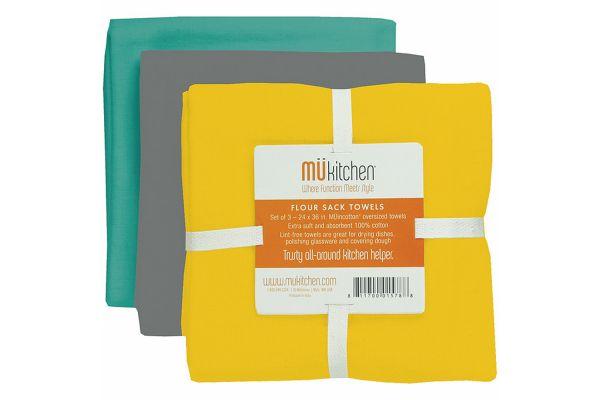 Large image of MUkitchen Cotton Flour Sack Wharf Towel Set - 66031675