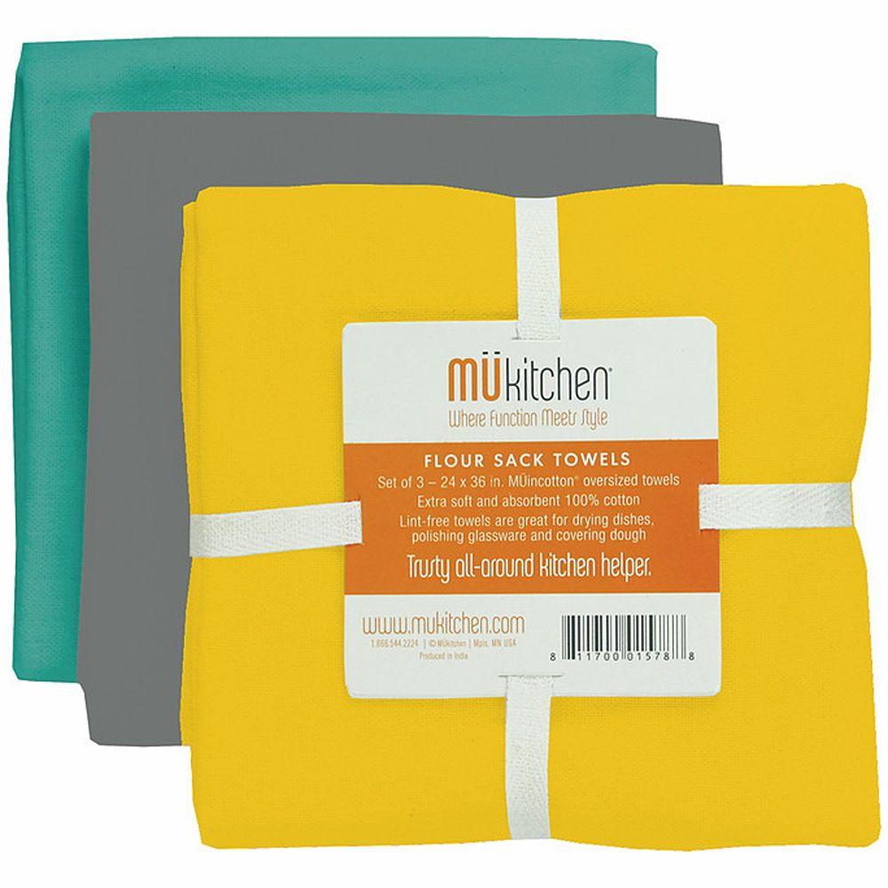 MUkitchen Cotton Flour Sack Wharf Towel Set