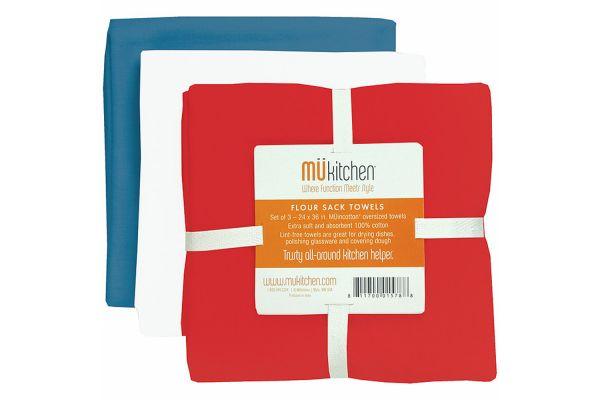Large image of MUkitchen Cotton Flour Sack Patriot Towel Set - 66031676