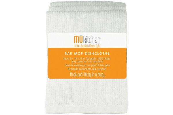 "MuKitchen 12"" White Cotton Bar Mop Dishcloths - 6610-1200"