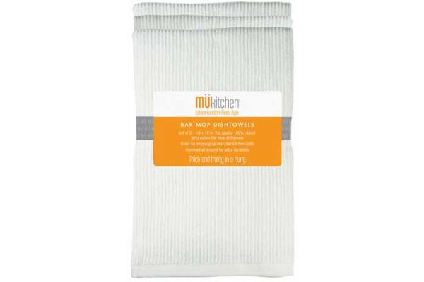 Large image of MUkitchen 3 Pc. Set White Bar Mop Dishtowels - 66201200