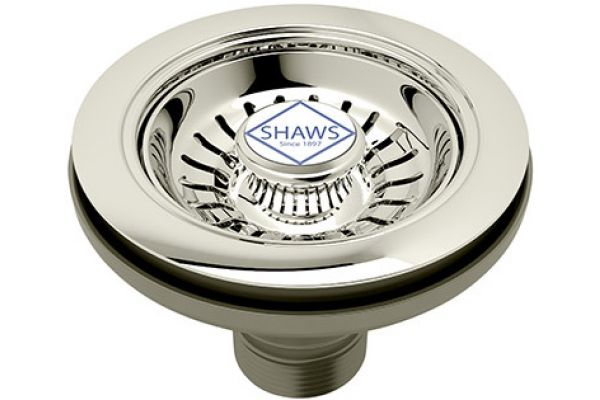 Large image of Rohl Satin Nickel Shaws Strainer Basket Without Pop Up - 734/STN