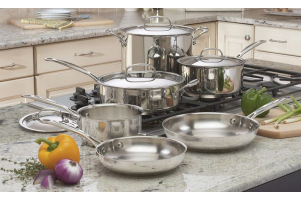 Large image of Cuisinart 10-Piece Chefs Stainless Steel Classic Cookware Set - 7710