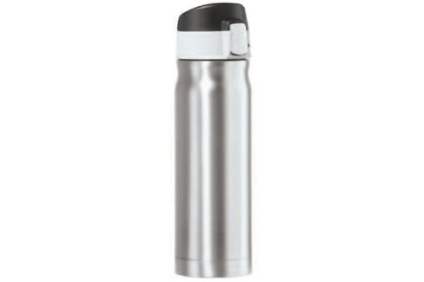 Large image of Oggi Caliber 16 Oz. Silver Stainless Steel Travel Flask - 80420