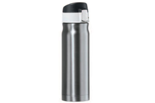 Large image of Oggi Caliber 16 Oz. Slate Grey Stainless Steel Travel Flask - 804210