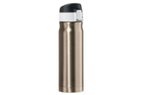 Large image of Oggi Caliber 16 Oz. Champagne Stainless Steel Travel Flask - 80424