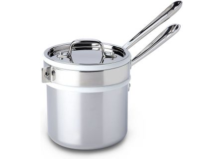 All-Clad Stainless Steel 2 Qt. Sauce Pan With Porcelain Double Boiler - 8400000266