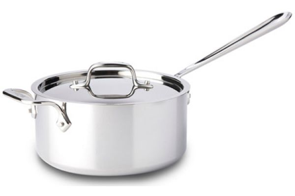 Large image of All Clad Stainless Steel 4 Qt Sauce Pan With Lid - 8701004419
