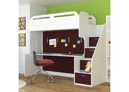 Leto Muro Abner Series White And Burnt Red Bunk Bed With Desk And Storage - ABNER10-WH-BR