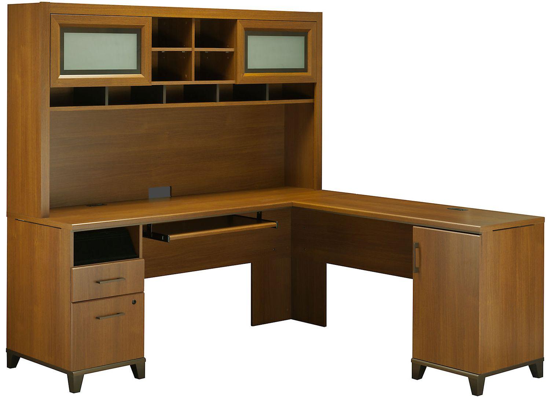 Bush Furniture Achieve L Shape Home Office Desk With Hutch In Warm Oak Ach001wo