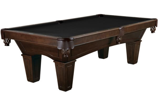 Large image of Brunswick Ainslie 8 Ft. Espresso And Ebony Billiard Table Package  - AIN8-ES-TP-SD-EB