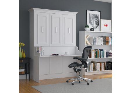 Leto Muro Allegra Series White Full Wall Bed With Desk - ALEGDBDSKP