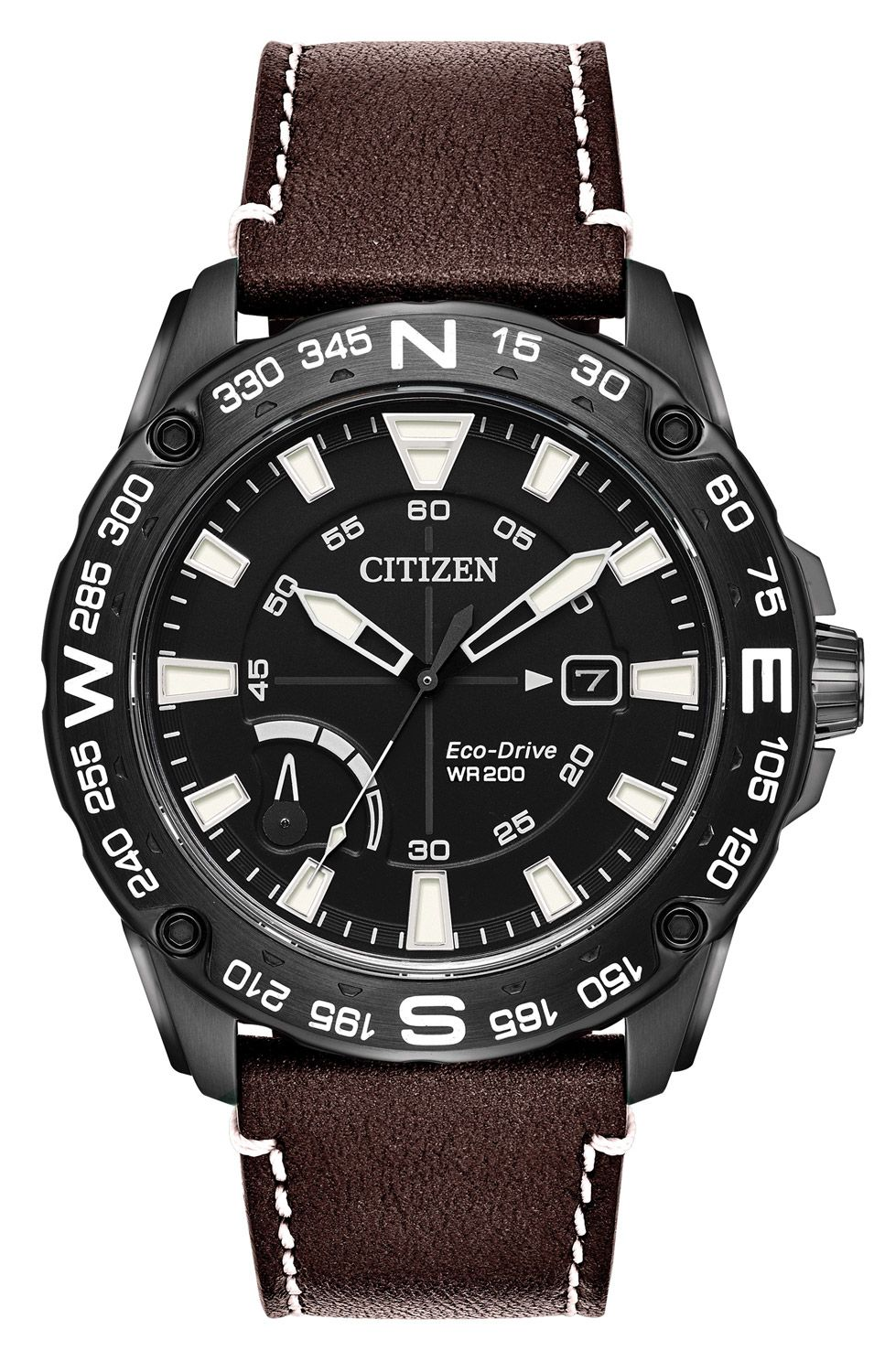 537a71846f57dd Citizen Eco-Drive CITIZEN PRT Black Stainless Steel And Brown Leather Mens  Watch - AW7045-09E