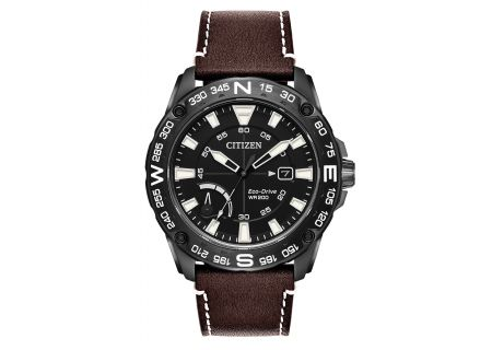 Citizen Eco-Drive CITIZEN PRT Black Stainless Steel And Brown Leather Mens Watch  - AW7045-09E