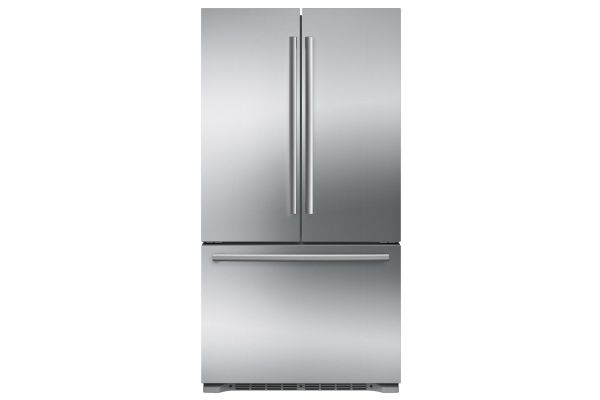 "Large image of Bosch 800 Series 36"" Stainless Steel 3-Door Counter Depth French Door Refrigerator - B21CT80SNS"