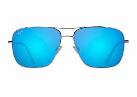 Maui Jim Cook Pines Silver And Blue Hawaii Mens Sunglasses  - B774-17