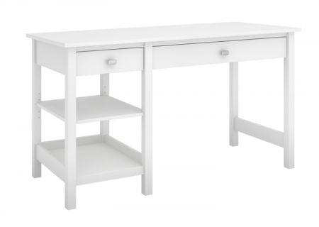 Bush Furniture Broadview Pure White Computer Desk With Open Storage - BDD154WH-03