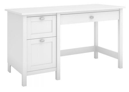 Bush Furniture Broadview Pure White Computer Desk With 2 Drawer Pedestal - BDD254WH-03