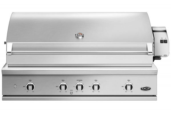 """DCS 48"""" Built-In Stainless Steel Series 9 Liquid Propane Gas Grill With Rotisseries And Charcoal - BE1-48RC-L"""