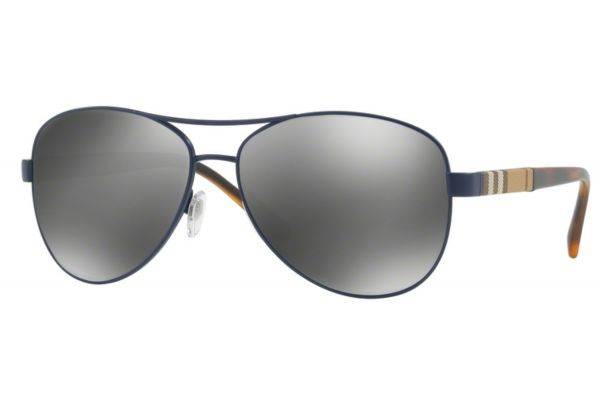 Burberry Pilot Frame Matte Blue Womens Sunglasses - BE3080 12346G 59