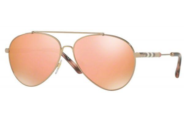 Burberry Pilot Shape Gold Womens Sunglasses - 0BE3092Q 12437J 57