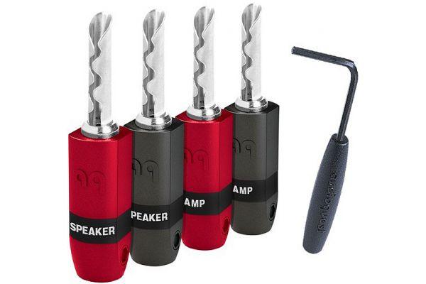 AudioQuest 4 Pack SureGrip300 Silver BFA/Banana Plugs - BFASUREGRIP300S4PK