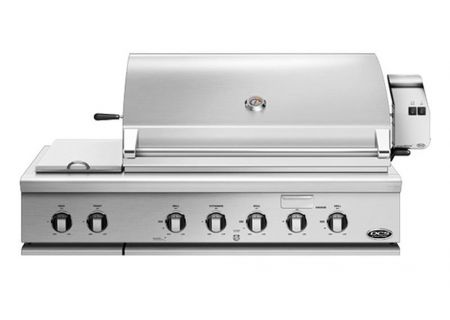 """DCS 48"""" Stainless Steel Built-In Liquid Propane Gas Grill With Rotisserie And Side Burners - BH1-48RS-L"""