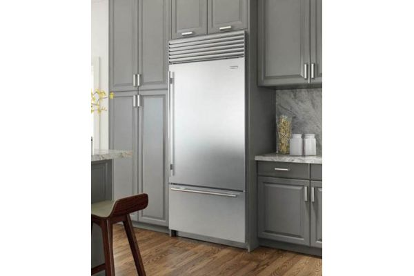 """Large image of Sub-Zero 36"""" Stainless Steel Right-Hinge Classic Over-And-Under Refrigerator/Freezer With Internal Dispenser And Tubular Handles - BI36UIDSTHRH"""