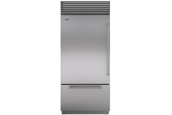 """Large image of Sub-Zero 36"""" Stainless Steel Left-Hinge Classic Over-And-Under Refrigerator/Freezer With Pro Handles - BI-36U/S/PH-LH"""