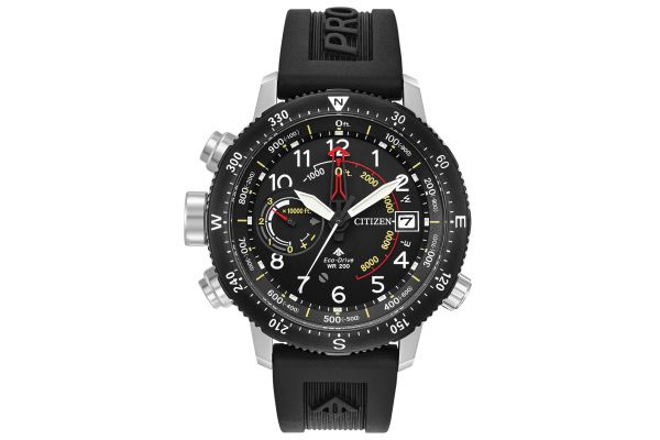 Large image of Citizen Eco-Drive Promaster Altichron Stainless Steel And Black Mens Watch - BN5058-07E