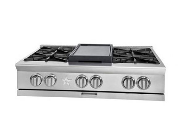"Large image of BlueStar 36"" Platinum Series Stainless Steel Gas Rangetop - BSPRT366B"