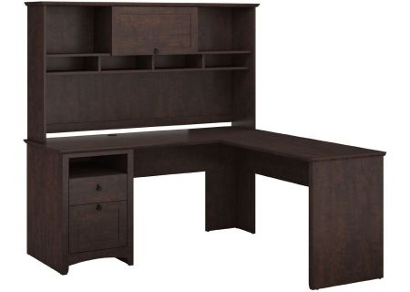 Bush Furniture Buena Vista Collection Madison Cherry L-Desk With Hutch - BUV035MSC