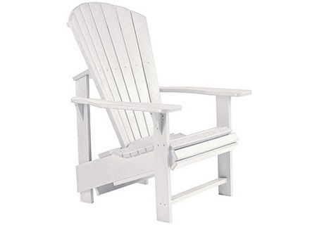 C.R. Plastic Products C03 White Upright Adirondack Chair - C03-02