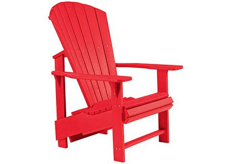 C.R. Plastic Products C03 Red Upright Adirondack Chair - C03-01
