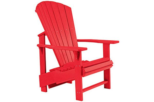 Large image of C.R. Plastic Products C03 Red Upright Adirondack Chair - C03-01