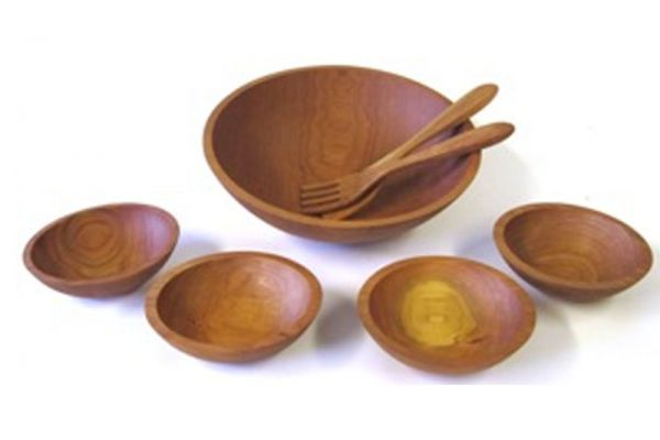 """Large image of Holland Bowl Mill Cherry 15"""" Wooden Salad Bowl Set - C115B7S"""